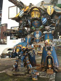 Warlord Titan and Knight Warden (and a Librarian for scale). Warhammer 40000, Warhammer Art, Warhammer Models, Warhammer 40k Miniatures, Warhammer Fantasy, Warhammer Games, Figurine Warhammer, Imperial Knight, Space Wolves