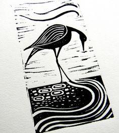 Wading Bird Lino Print by Mangle Prints, via Flickr