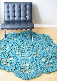 """Crochet PATTERN - Throw Blanket / Rug Super Chunky Doily 8 Styles (30""""-66"""" diameter) (blanket003)"""