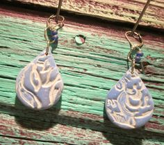 Holey Smoley Medium Blue and Beige Polymer Clay Fun by blessen, $13.00 BarbLessenSunnyDesignsJewelry
