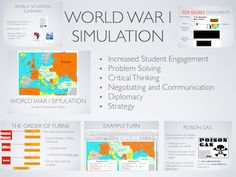 The World War 1 Simulation is an interactive and hands on, classroom activity.  Students assume the roles of world leaders and are immersed in the same situations and circumstances that leaders faced in the Great War!  Guided by objectives, students will negotiate, conduct diplomacy and develop strategies as they move their armies and navies into battle across the map.  Now includes an online/interactive Map!