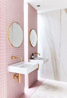 Pink Bathroom Tiles - 10 Top Bathroom Tile Design Ideas to Try Pink Bathroom Tiles, Pink Tiles, Bathroom Tile Designs, Bathroom Trends, Bathroom Interior Design, Bathroom Flooring, Decor Interior Design, Modern Bathroom, Pink Bathrooms
