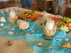 Beach Baby Shower - Food Table - Sand & Shell Candles - Burlap - Net - Blue Shears, Glass Bubbles, Pearls