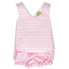 Bettye Bloomer Set - Pinckney Pink Stripe