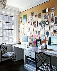 have always loved this bulletin board -- are those bull nose clips ? even if they're not...they should be, and like the trim around rather than a wood frame -- looks fresh -- and my at home office needs an overhaul