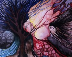 Original abstract watercolor painting   'DIVINE DAEMON' by intoreverie N. Bianca Carpenter