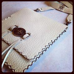 Black and Ivory Crossbody Leather Bag  #handmade  #thecraftstar  $30.00