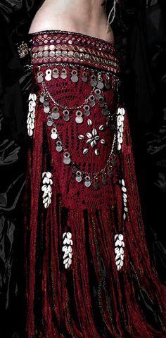 Tribal Belly Dance Crochet Banjara Mirror Coin Belt from Scarlet's Lounge via Etsy.com