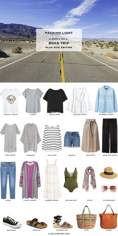 What to Pack for a Road Trip Plus Size Packing Light List – Travel capsule wardrobe summer – Road Trip Travel Outfit Summer, Summer Outfits, Summer Travel, Road Trip Packing List, Road Trips, Packing Tips, Road Trip Outfit, Road Trip Clothes, Plus Size Capsule Wardrobe