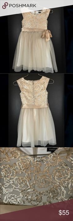Gorgeous Gold Girls Holiday Dress Top is sequined flowers, bottom is gold glittered tulle. Inside is lined with a stretchy cream material. Gold ribbon belt. Lots of girl clothes in my closet, bundle and save! Zunie Dresses Formal