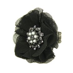 Blue Moon Jewelry Fall/Winter Collection Ring, Large Black Fabric Flower