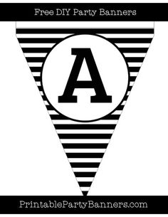 Black and White Pennant Horizontal Striped Capital Letter A