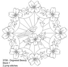 Dogwood Beauty Block 1 by One Song Needle Arts