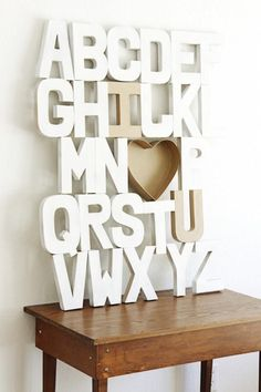 DIY Arts & Crafts // DIY Wall Art // alphabet art // wooden letters // white art // decoration // school room art
