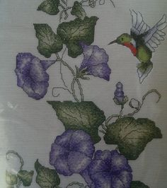 Morning Glories Hummingbird Bucilla Counted Cross Stitch Kit 8x15 Flower Bird
