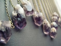 Amethyst Necklace: Raw Amethyst Crystal Pendant Layering Necklace Reiki Jewelry Rustic Purple Crystal Point Necklace Chunky Amethyst