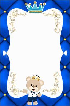 Fiestas Personalizadas Imprimibles: Kit imprimible de Oso con corona Azul. Descarga Gratis Christening Invitations Boy, Baby Christening, Birthday Invitations, Boy Baby Shower Themes, Baby Shower Printables, Baby Boy Shower, Prince Birthday Theme, 1st Boy Birthday, Mickey Mouse Crafts
