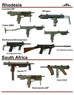 In this image, you will find Rhodesia and South Africa different types of guns in it. Military Weapons, Weapons Guns, Guns And Ammo, Future Weapons, Assault Weapon, Submachine Gun, Weapon Concept Art, Cool Guns, War Machine