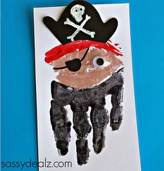 These 25 Precious Handprint Crafts for Toddlers are a wonderful way to keep memories of your littles from when they were truly little. Pirate Birthday, Pirate Theme, Toddler Art, Toddler Crafts, Daycare Crafts, Toddler Activities, Summer Crafts For Toddlers, Art For Kids, Flamingo Craft