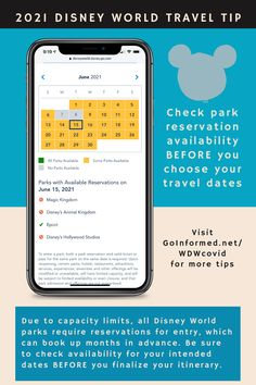 Be sure to check Disney's park reservation calendar before booking your Disney World vacation. Parks can book up months in advance. Check your dates before finalizing that itinerary! More Disney World Covid-19 operations tips at GoInformed.net