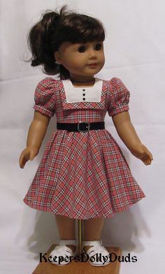 https://flic.kr/p/zgNXdS | 1950's Homespun dress made to fit American Girl Doll | An Original KeepersDollyDuds design.