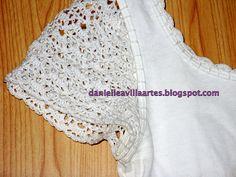 crochet summer shirt - crafts ideas - crafts for kids Pull Crochet, Crochet Fabric, Crochet Lace, Crochet Patterns, Crochet T Shirts, Crochet Blouse, Crochet Clothes, Diy Crafts Crochet, Black Crochet Dress