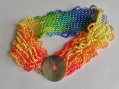 Multi Color Wave Ombre Bracelet With Pearl Button