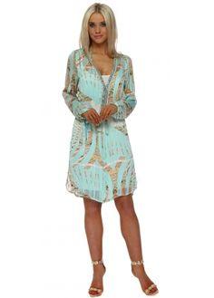 Aqua Tropical Paisley Crystal Neckline Dress
