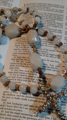 R147 Anglican Rosary Protestant Prayer Beads Gemstone Picture Jasper Quartzite by kristanscross on Etsy