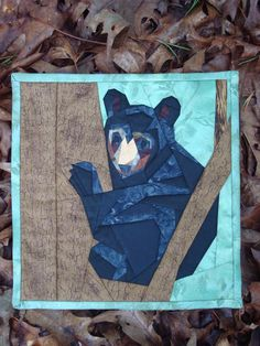 Bear Cub Up A Tree Wallhanging by Jackiesewingstudio on Etsy Man Cave Quilts, Quilted Wall Hangings, Bear Cubs, Green Fabric, Green Backgrounds, Perfect Man, Machine Quilting, Quilt Making, Paper Piecing