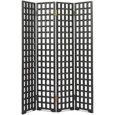 This simple, beautifully crafted lattice screen is made up of four hinged panels. Each one is created with mortise and tenon joints, with both sides being bevelled. The Chinese used decorative screens - either lacquered and painted or carved - from early on as a means of providing privacy. Whilst later ones tended to be very ornate and heavily carved, more understated designs like this were popular during the Ming dynasty.