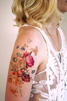 A dreamy vintage floral temporary tattoo.