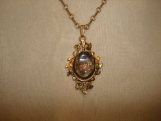 "Antique 12K Gold Filled Framed VENETIAN GLASS Mica Flakes PENDANT (1-1/2"") ~ (17-1/2"" long gf chain) by PastPossessionsOnly on Etsy"