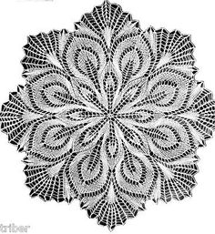"""Knitted Lace MIMOSA 16"""" Cotton Doily Vintage Cotton Knitting PATTERN COPY"""