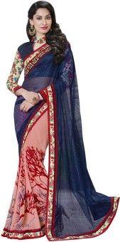 Resham Fabrics Self Design, Solid Fashion Georgette Sari