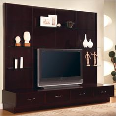 Furniture & Design :: Living room furniture :: Entertainment centers :: Espresso finish wood contemporary style TV entertainment center wall unit with clean lines and storage drawers Wall Unit Designs, Tv Stand Designs, Wall Design, House Design, Blogger Templates, Tv Stand Plans, Led Tv Stand, Tv Wall Cabinets, Display Cabinets