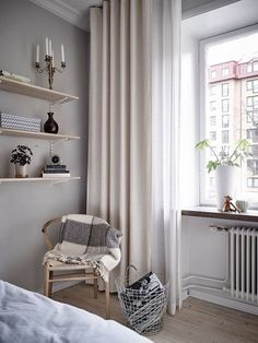 Ultimate Curtain Guide: Types, Colors, Fabrics And 25 Examples Neutral curtains hanging a bit over the floor for a lightweight and airy look in the room Curtains Living, Diy Curtains, Hanging Curtains, Long Curtains, Bedroom Curtains, Apartment Curtains, Ceiling Curtains, Layered Curtains, French Curtains