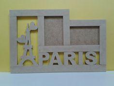Porta retrato doble PARIS. Letras. Nombres. Figuras. Logos. En mdf contacto 0412 1392985