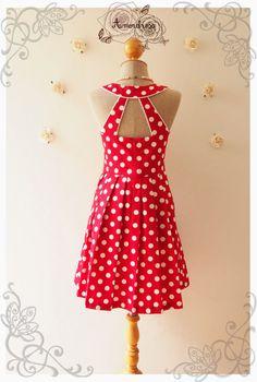 POPPING LADY Red Polka Dot Dress cut off Back Dress by Amordress, $55.00