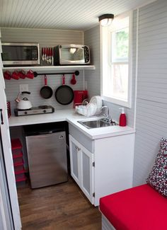 Very Small White Kitchen ranch guest house - a small home with a 288 square feet footprint