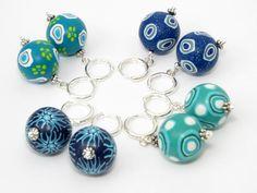 Sea colors earring handmade Polymer clay earring jewelry