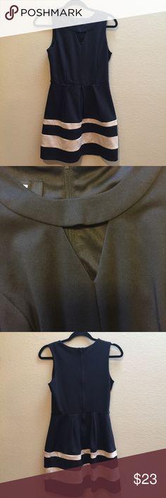 """IZ BYER black and beige striped cutout dress 5 IZ BYER black and beige striped dress. Cutout on neckline. Belt loops but no belt included. Gently used. Size 5. 38"""" shoulder to hem and 17"""" waist to hem. Iz Byer Dresses"""