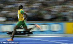 The man runs faster than a car.
