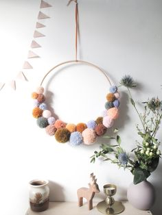 Large Pom Pom Wreath in Multi Colour Mix – Never Perfect Studio Crafts For Seniors, Crafts For Kids, Arts And Crafts, Pom Pom Wreath, Diy Wreath, Craft Stick Crafts, Diy Crafts, Cork Crafts, Craft Ideas