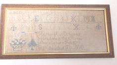 Antique sampler 1832 silk onlinen embroidery by Hester Ann Osburns, age 10