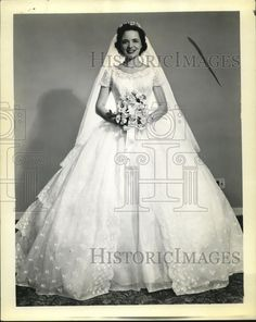 1956 Press Photo Mrs George B. Prozan in her wedding gown - cva83122 - Historic Images