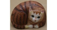 "Pet Rock Coon Painted poly resin Back is neutral rock color approx. 4"" X 2.5"" Click to enlarge"