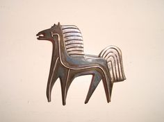 Vintage James Avery Sterling Silver & Oxidized Copper Modernist Horse Pin Brooch #JamesAvery