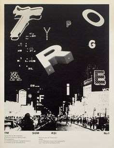 'Typographische Monatsblätter' 1971 | Dan Friedman – Illustration made with letterforms found in Times Square, NYC