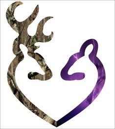 "11"" Browning style love heart shaped custom printed camo buck and purple lighting printed doe"